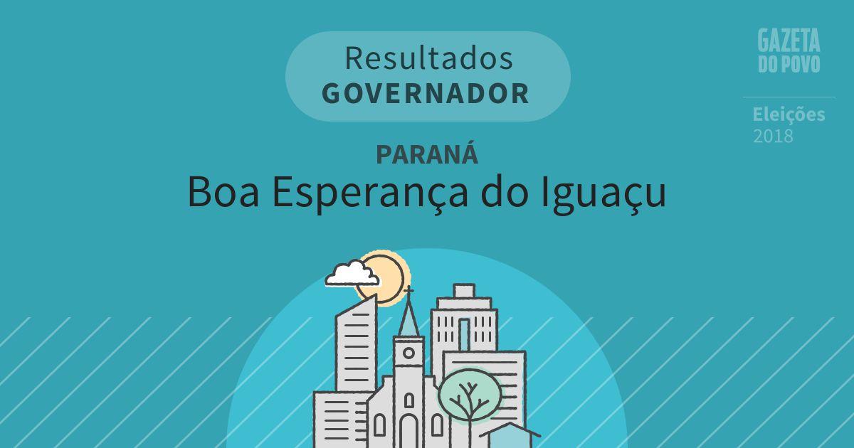 Resultados para Governador no Paraná em Boa Esperança do Iguaçu (PR)