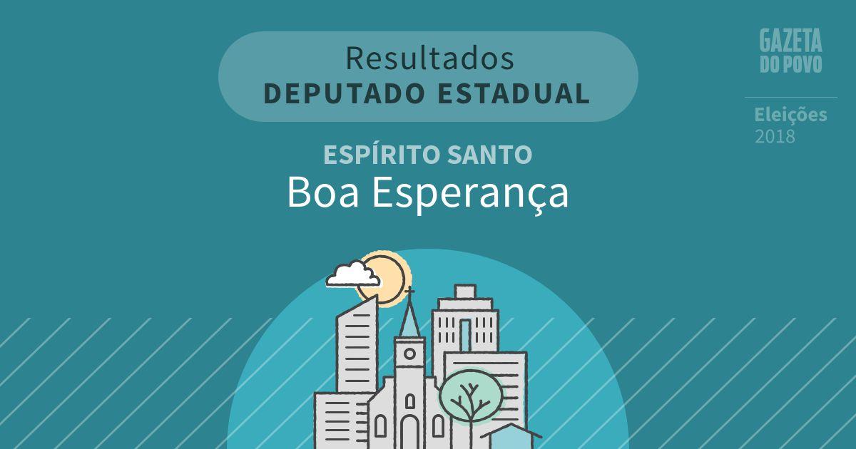 Resultados para Deputado Estadual no Espírito Santo em Boa Esperança (ES)