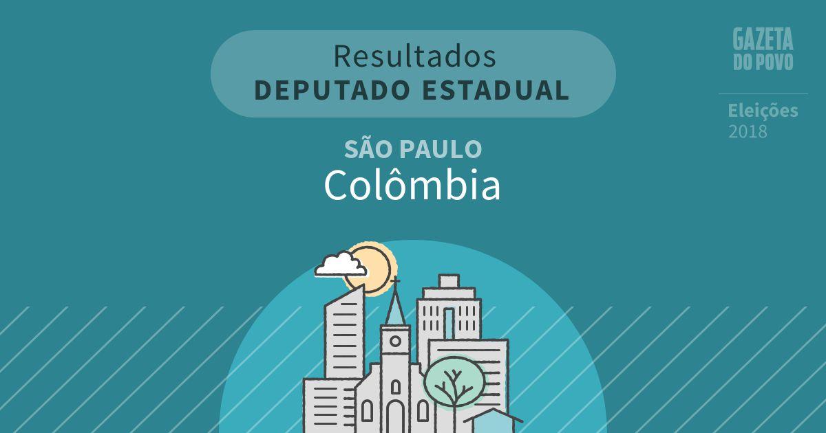 Resultados para Deputado Estadual em São Paulo em Colômbia (SP)