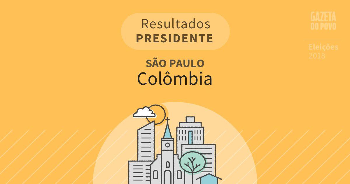 Resultados para Presidente em São Paulo em Colômbia (SP)