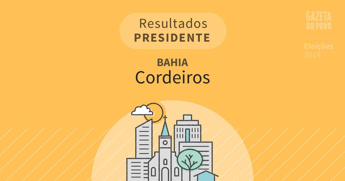 Resultados para Presidente na Bahia em Cordeiros (BA)