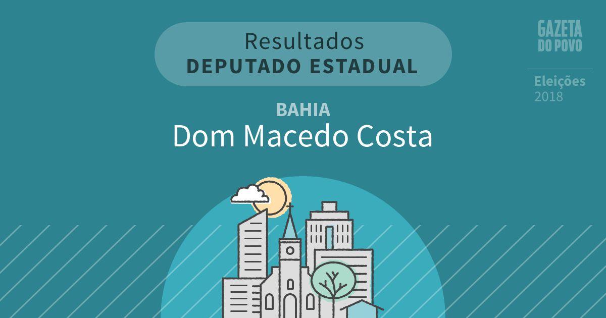 Resultados para Deputado Estadual na Bahia em Dom Macedo Costa (BA)