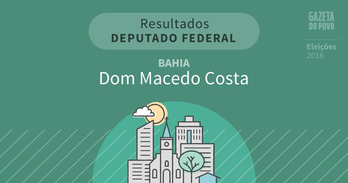 Resultados para Deputado Federal na Bahia em Dom Macedo Costa (BA)
