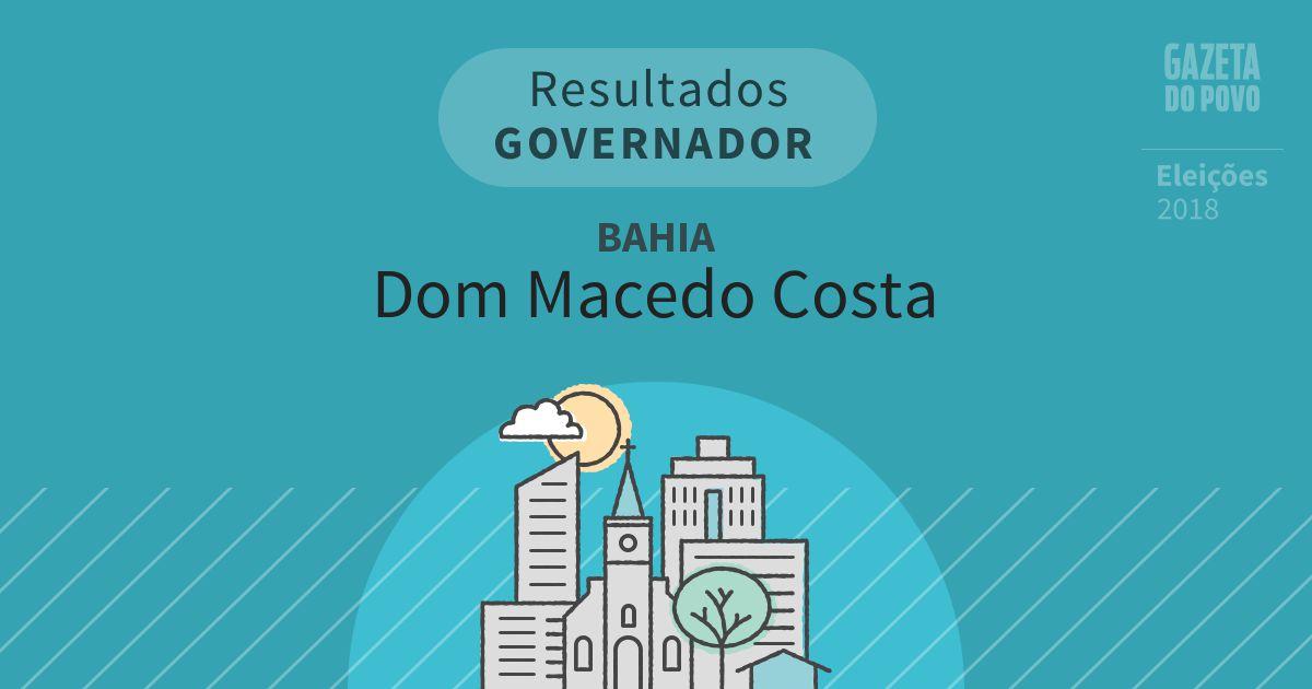 Resultados para Governador na Bahia em Dom Macedo Costa (BA)