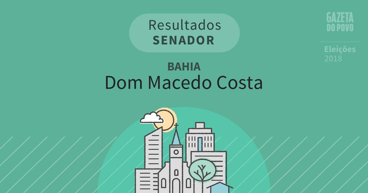 Resultados para Senador na Bahia em Dom Macedo Costa (BA)