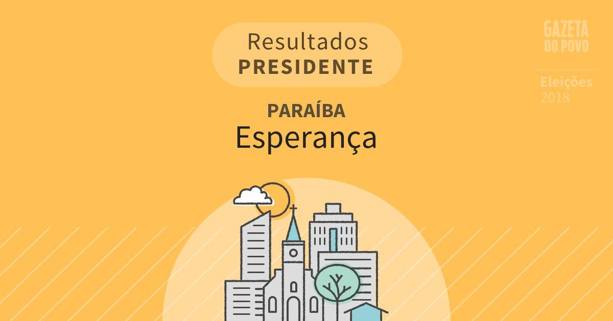 Resultados para Presidente na Paraíba em Esperança (PB)
