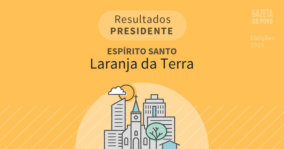 Resultados para Presidente no Espírito Santo em Laranja da Terra (ES)
