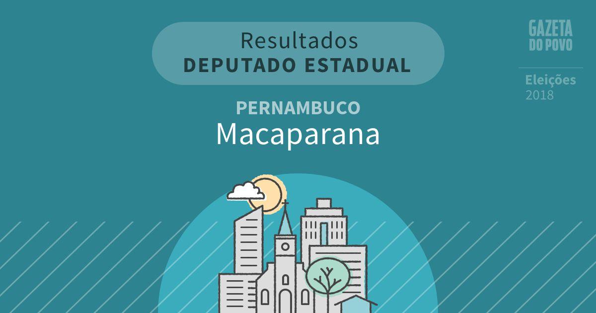 Resultados para Deputado Estadual em Pernambuco em Macaparana (PE)