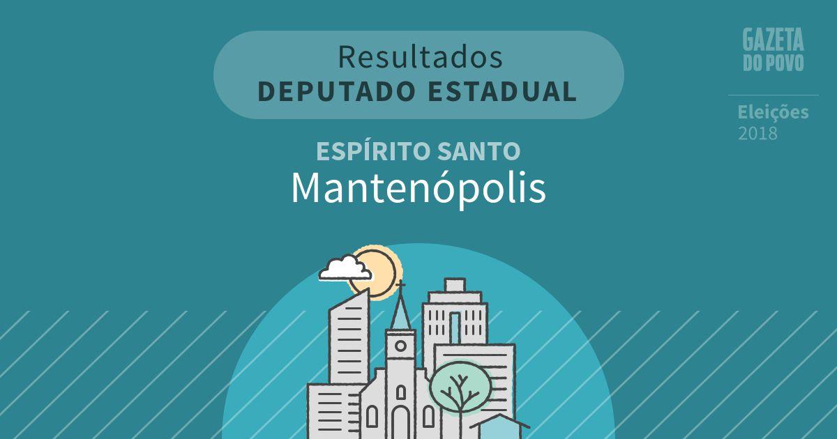 Resultados para Deputado Estadual no Espírito Santo em Mantenópolis (ES)
