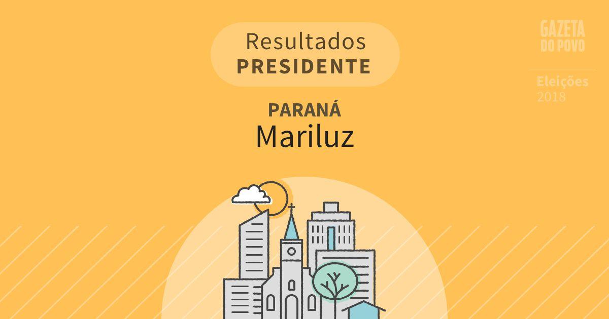 Resultados para Presidente no Paraná em Mariluz (PR)