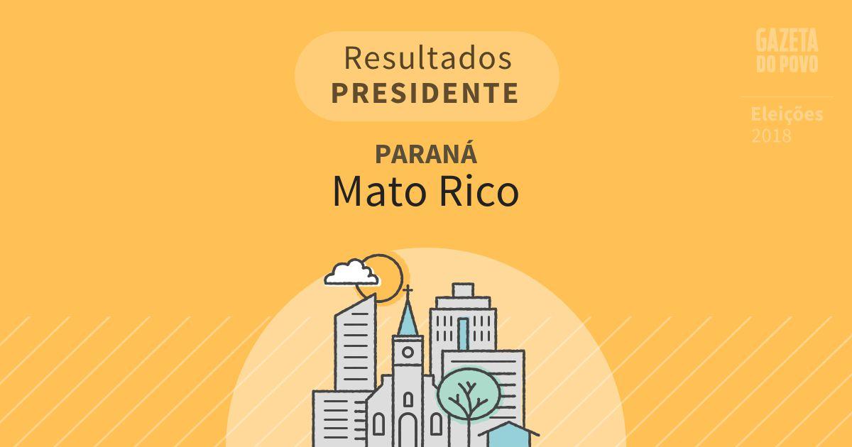 Resultados para Presidente no Paraná em Mato Rico (PR)