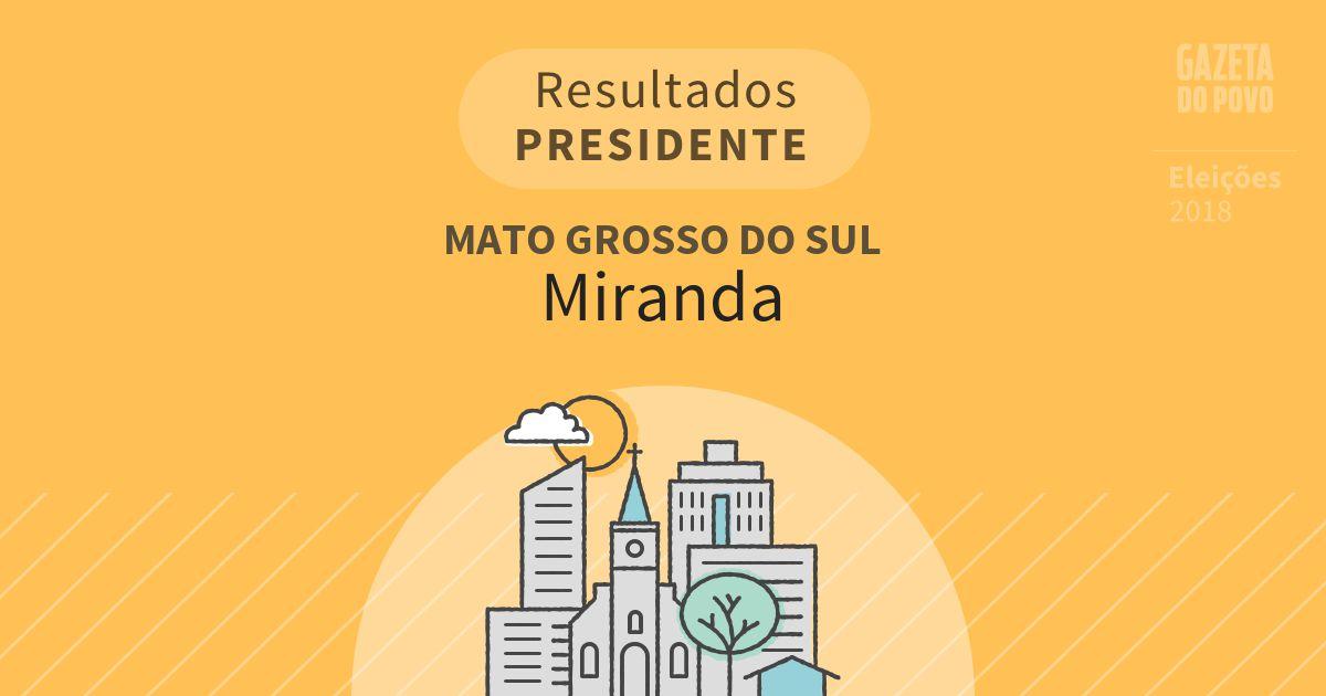Resultados para Presidente no Mato Grosso do Sul em Miranda (MS)