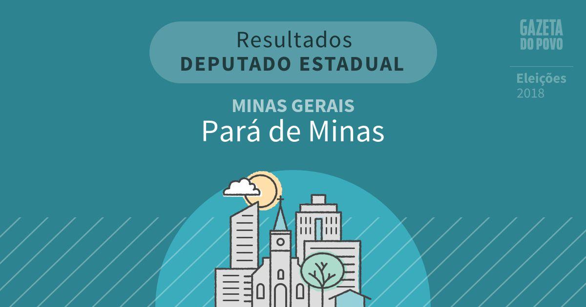 Resultados para Deputado Estadual em Minas Gerais em Pará de Minas (MG)