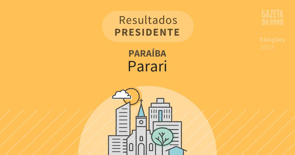 Resultados para Presidente na Paraíba em Parari (PB)