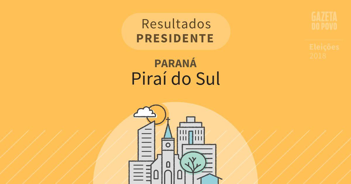 Resultados para Presidente no Paraná em Piraí do Sul (PR)