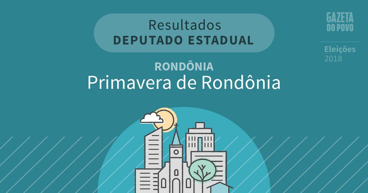 Resultados para Deputado Estadual em Rondônia em Primavera de Rondônia (RO)