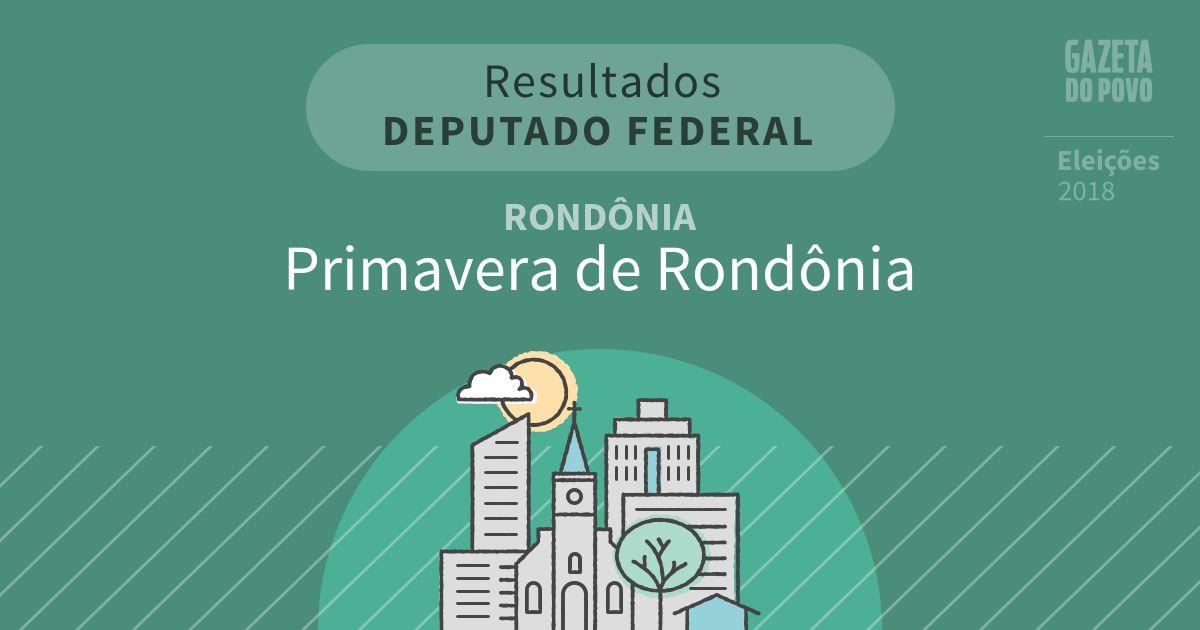 Resultados para Deputado Federal em Rondônia em Primavera de Rondônia (RO)
