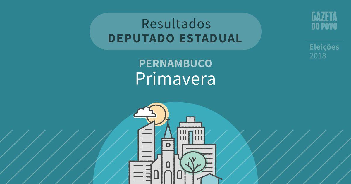 Resultados para Deputado Estadual em Pernambuco em Primavera (PE)