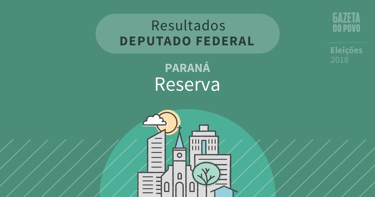 Resultados para Deputado Federal no Paraná em Reserva (PR)