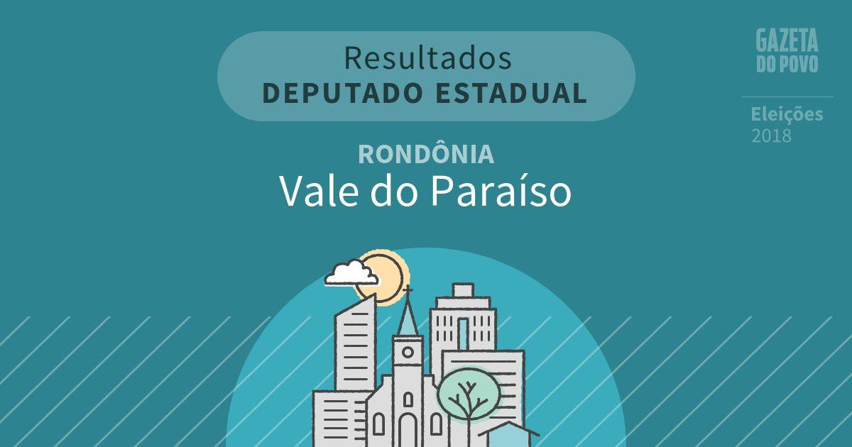 Resultados para Deputado Estadual em Rondônia em Vale do Paraíso (RO)
