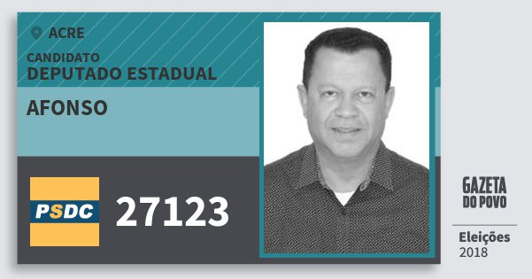 Santinho Afonso 27123 (DC) Deputado Estadual | Acre | Eleições 2018