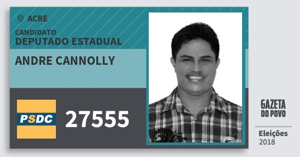 Santinho Andre Cannolly 27555 (DC) Deputado Estadual | Acre | Eleições 2018