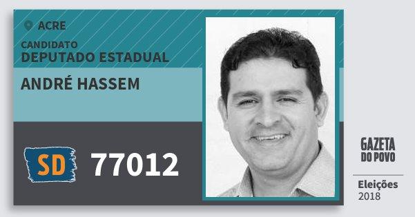 Santinho André Hassem 77012 (SOLIDARIEDADE) Deputado Estadual | Acre | Eleições 2018