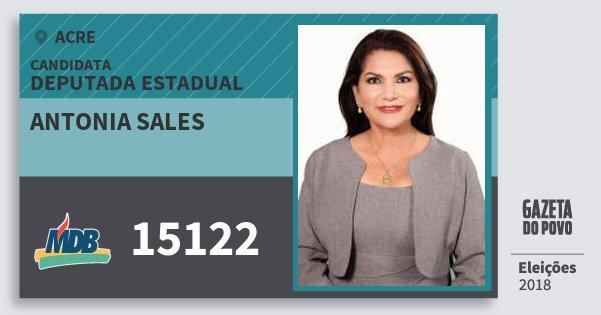 Santinho Antonia Sales 15122 (MDB) Deputada Estadual | Acre | Eleições 2018