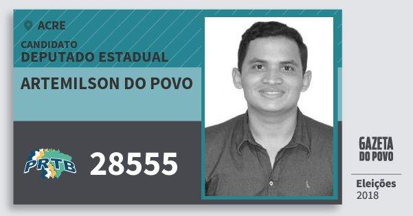 Santinho Artemilson do Povo 28555 (PRTB) Deputado Estadual | Acre | Eleições 2018