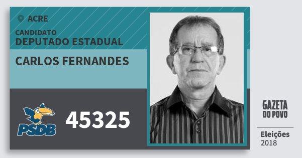 Santinho Carlos Fernandes 45325 (PSDB) Deputado Estadual | Acre | Eleições 2018