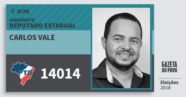 Santinho Carlos Vale 14014 (PTB) Deputado Estadual | Acre | Eleições 2018