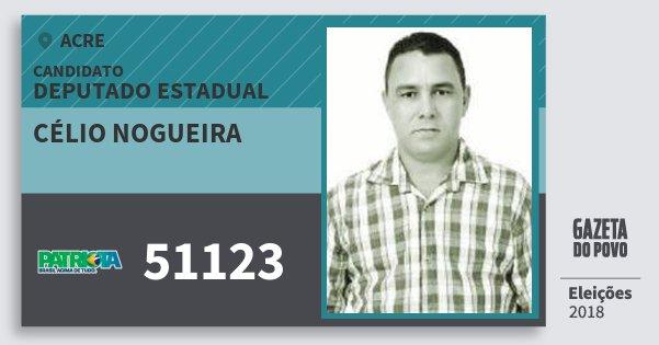 Santinho Célio Nogueira 51123 (PATRI) Deputado Estadual | Acre | Eleições 2018