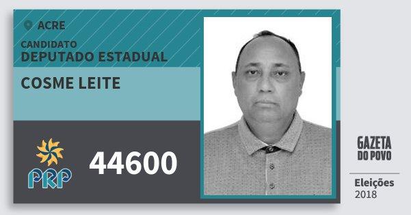 Santinho Cosme Leite 44600 (PRP) Deputado Estadual | Acre | Eleições 2018
