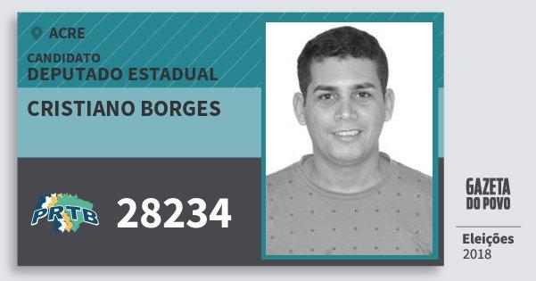 Santinho Cristiano Borges 28234 (PRTB) Deputado Estadual | Acre | Eleições 2018