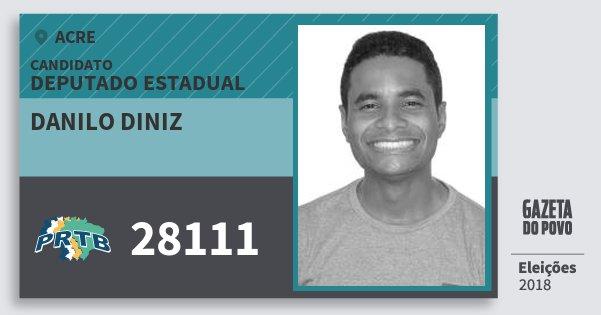 Santinho Danilo Diniz 28111 (PRTB) Deputado Estadual | Acre | Eleições 2018