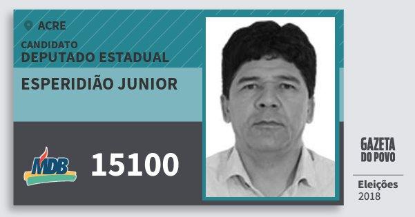 Santinho Esperidião Junior 15100 (MDB) Deputado Estadual | Acre | Eleições 2018