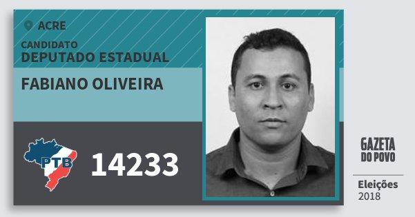 Santinho Fabiano Oliveira 14233 (PTB) Deputado Estadual | Acre | Eleições 2018