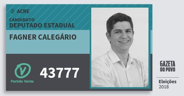 Santinho Fagner Calegário 43777 (PV) Deputado Estadual | Acre | Eleições 2018