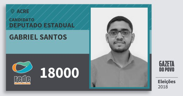 Santinho Gabriel Santos 18000 (REDE) Deputado Estadual | Acre | Eleições 2018