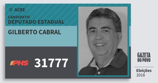 Santinho Gilberto Cabral 31777 (PHS) Deputado Estadual | Acre | Eleições 2018