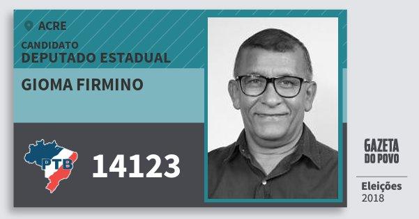Santinho Gioma Firmino 14123 (PTB) Deputado Estadual | Acre | Eleições 2018