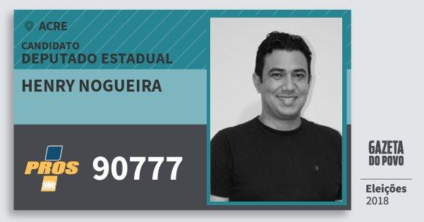 Santinho Henry Nogueira 90777 (PROS) Deputado Estadual | Acre | Eleições 2018