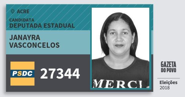 Santinho Janayra Vasconcelos 27344 (DC) Deputada Estadual | Acre | Eleições 2018