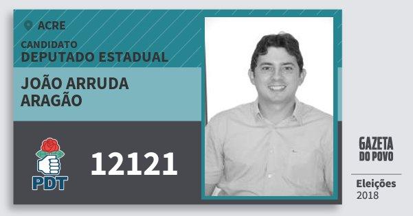 Santinho João Arruda Aragão 12121 (PDT) Deputado Estadual | Acre | Eleições 2018
