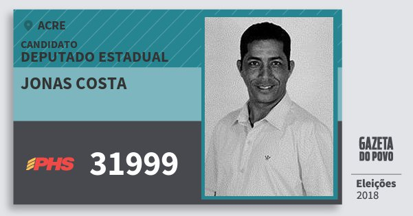 Santinho Jonas Costa 31999 (PHS) Deputado Estadual | Acre | Eleições 2018