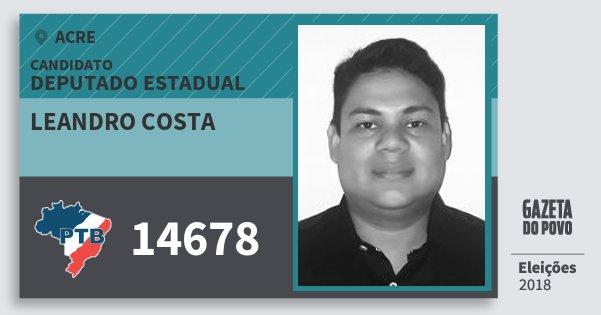 Santinho Leandro Costa 14678 (PTB) Deputado Estadual | Acre | Eleições 2018