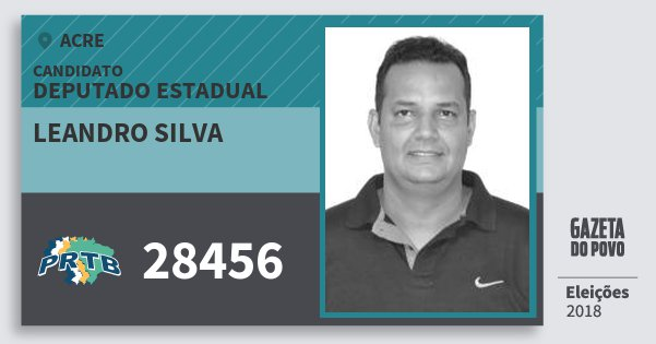 Santinho Leandro Silva 28456 (PRTB) Deputado Estadual | Acre | Eleições 2018
