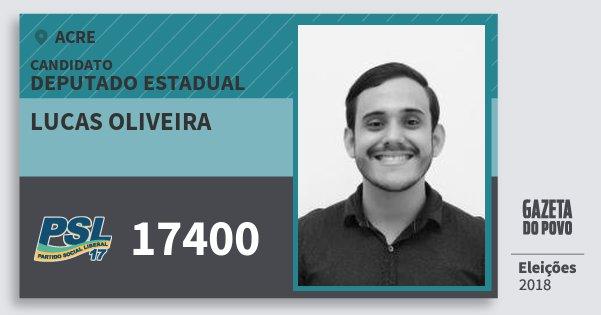 Santinho Lucas Oliveira 17400 (PSL) Deputado Estadual | Acre | Eleições 2018
