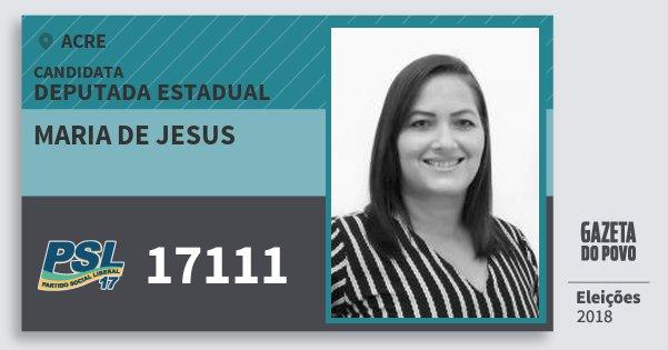 Santinho Maria de Jesus 17111 (PSL) Deputada Estadual | Acre | Eleições 2018