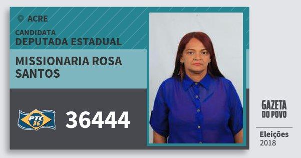 Santinho Missionaria Rosa Santos 36444 (PTC) Deputada Estadual | Acre | Eleições 2018